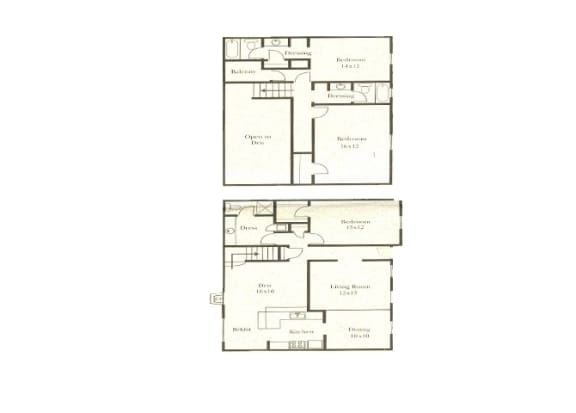 3 bedroom 3 bathroom floor plan at Wellington Estates in San Antonio, TX
