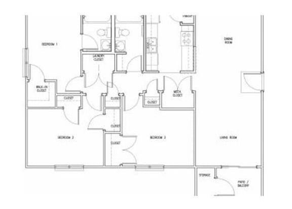 3 Bedroom 2 Bath floor plan, 1,234 square feet