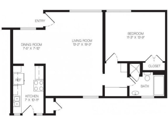 1 bedroom floor plan | Chase Knolls Garden Apartments Sherman Oaks CA