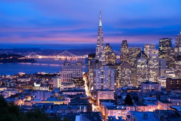 Night View of City at Arc Light, San Francisco