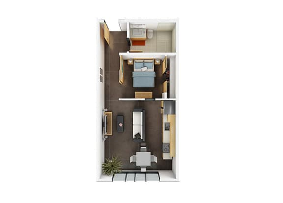 One Bedroom One Bathroom Floorplan A