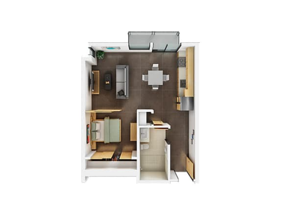 One Bedroom One Bathroom Floorplan B
