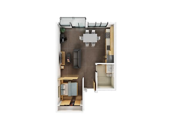 One Bedroom One Bathroom Floorplan C