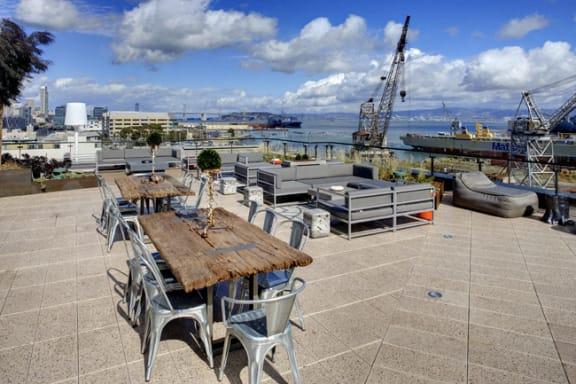 Rooftop Dining Area at Potrero Launch, San Francisco, CA 94107