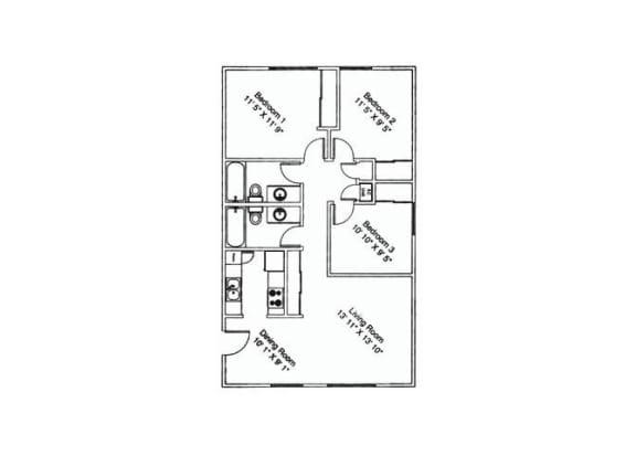 3 bedroom 2 bathroom at Zona Verde Apartments in Tucson, AZ