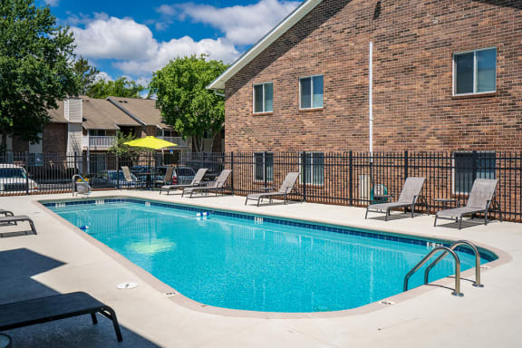 Lap Pool with Lounge Furniture Along the Sundeck