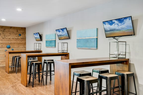 Clubhouse High Top Tables and Bar Stool Seating