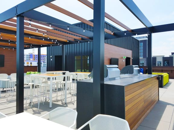 Rooftop Pergola with Grills and Tables