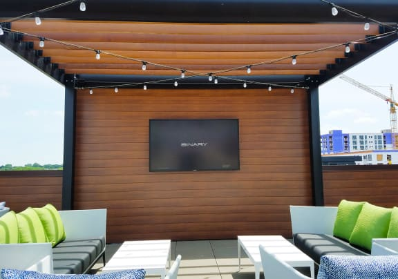 Rooftop Pergola with Mounted Flat Screen TV