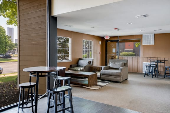 Lounge Seating at the Clubhouse with High Top Table and Stools