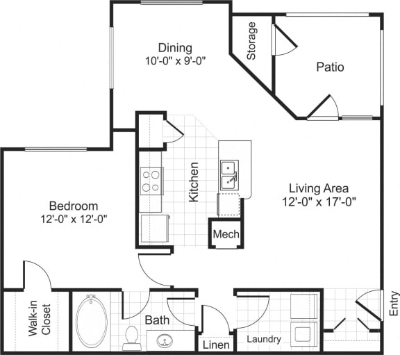 Floor Plan  A1 1 bedroom 1 bathroom floorplan at Falls Pointe at the Park Apartments in Durham, NC
