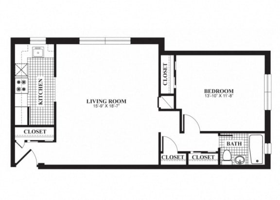 Floor Plan  One bedroom one bathroom A1 floorplan at The Barrington Apartments in Silver Spring, MD