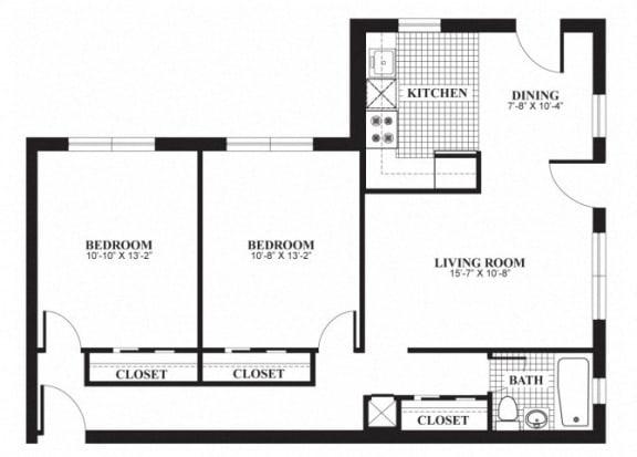 Floor Plan  Two bedroom one bathroom B1 floorplan at The Barrington Apartments in Silver Spring, MD