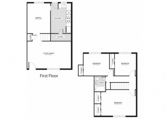 Floor Plan  Three bedroom one bathroom C1 and C2 floorplan at The Barrington Apartments in Silver Spring, MD