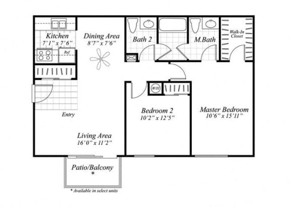 Floor Plan  Two bedroom one and a half bathroom B1 floor plan at Brentwood Apartment Homes in Manassas, VA