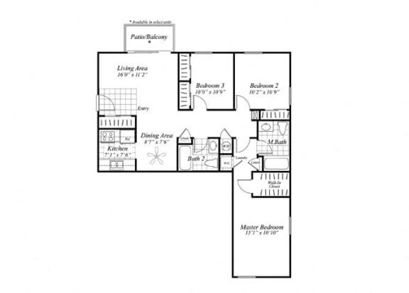 Floor Plan  Three bedroom two bathroom C1 floor plan at Brentwood Apartment Homes in Manassas, VA
