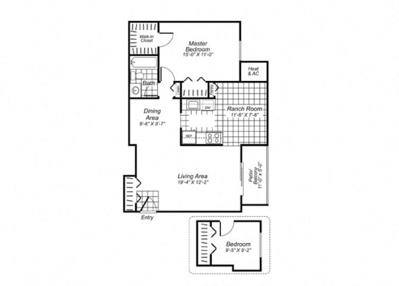 Floor Plan  Two bedroom one bathroom B1 Floorplan at Oakfield Apartment Homes in Wheaton, MD