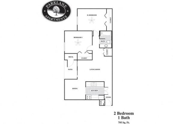 Floor Plan  2 bedroom floorplan at Parklane Apartments in Gaithersburg, MD