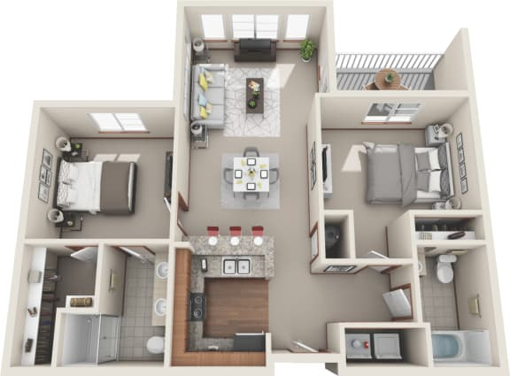 Floor Plan  Two Bedroom | Two Bathroom