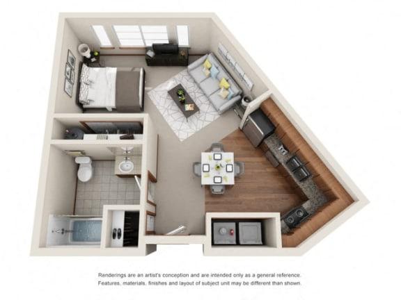 Floor Plan  Studio Floor plan at Harrington Square, Renton, WA, 98056