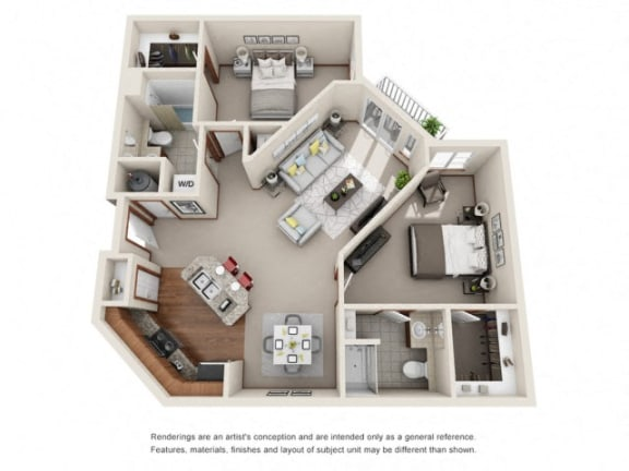 Floor Plan  2 Bed 2 Bath Floor plan at Harrington Square, Washington, 98056