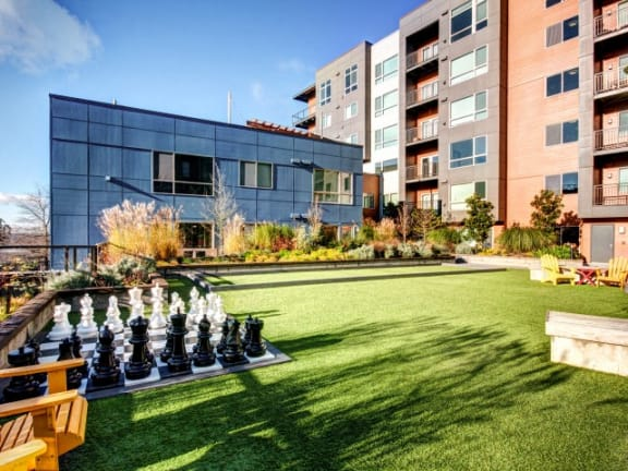 Bocce Board Rooftop Chess at Liv Apartments, Bellevue