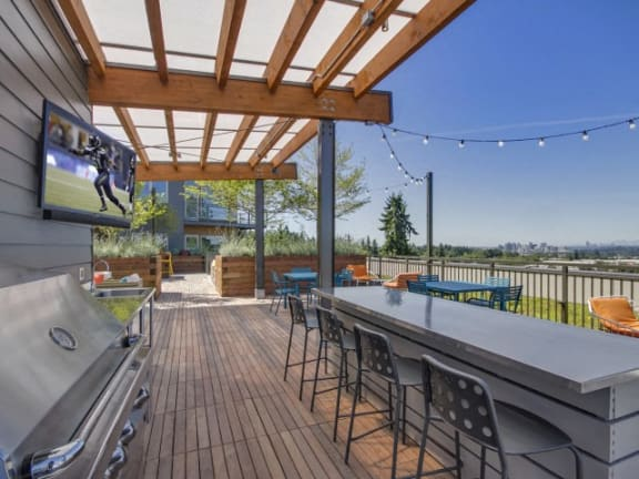 Rooftop Kitchen with Gas Grills at Liv Apartments, Bellevue, Washington