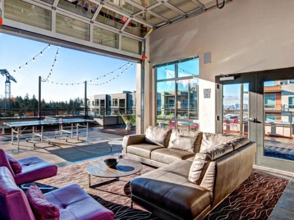 TV Lounge Party Rooms with Ping Pong and Pool Table at Liv Apartments, Washington