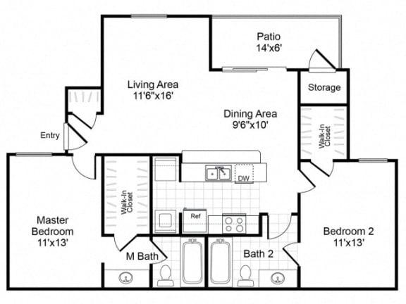 Floor Plan  B2 floorplan at the Valley Ridge Apartments in Lewisville, TX