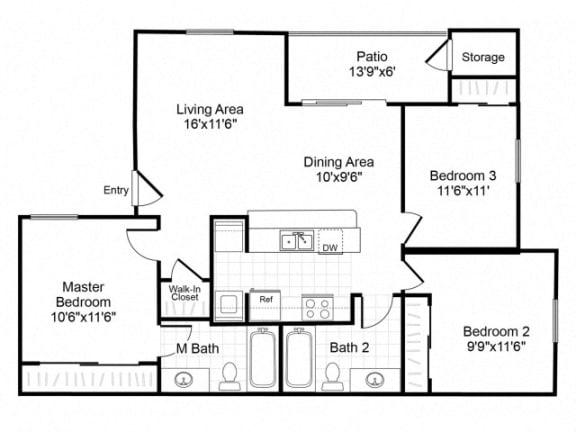 Floor Plan  C1 floorplan at Valley Ridge Apartments in Lewisville, TX