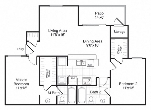 Floor Plan  B2 floor plan at Valley Trails Apartments in Irving, TX