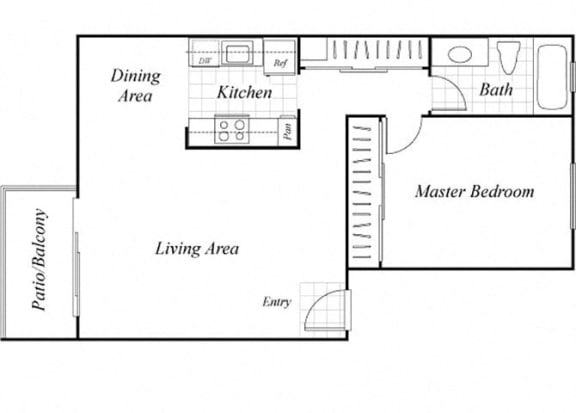 Floor Plan  A1 floor plan at Baycliff Apartments in Richmond, CA