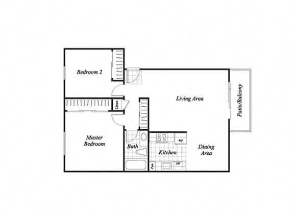 Floor Plan  Two bedroom one bathroom B1 floor plan at Baycliff Apartments in Richmond, CA