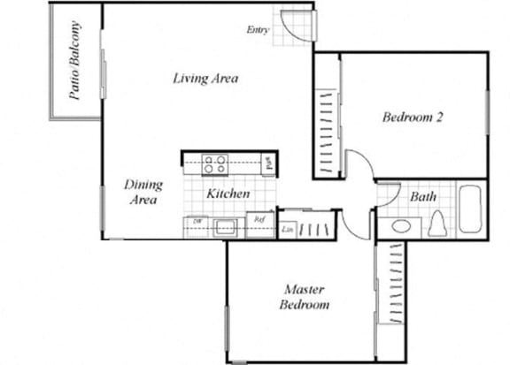 Floor Plan  B2 floorplan at Baycliff Apartments in Richmond, CA