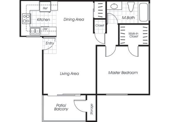 Floor Plan  One bedroom one bathroom A1 floor plan at Belmont Apartment Homes in Pittsburg, CA