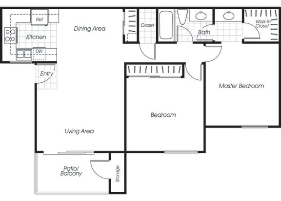Floor Plan  Two bedroom one bathroom B1 floor plan at Belmont Apartment Homes in Pittsburg, CA