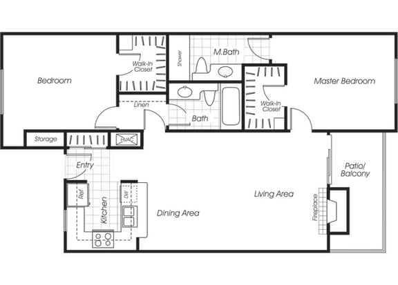 Floor Plan  Two bedroom two bathroom B2 floor plan at Belmont Apartment Homes in Pittsburg, CA