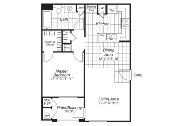 Floor Plan  One bedroom one bathroom A2 floor plan at Bristol Apartment Homes in Dixon, CA