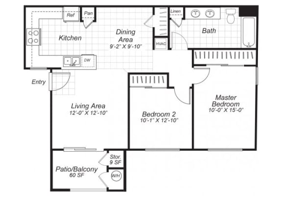 Floor Plan  Two bedroom one bathroom B1 floor plan at Bristol Apartment Homes in Dixon, CA