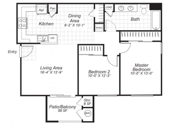 Floor Plan  Two bedroom one bathroom B2 floor plan at Bristol Apartment Homes in Dixon, CA