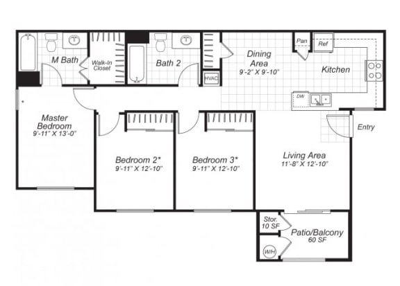 Floor Plan  Three bedroom two bathroom C1 floor plan at Bristol Apartment Homes in Dixon, CA