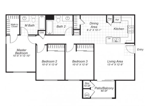 Floor Plan  Three bedroom two bathroom C2 floor plan at Bristol Apartment Homes in Dixon, CA