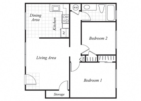 Floor Plan  Two bedroom one bathroom B1 floorplan at Trestles Apartments in San Jose, CA