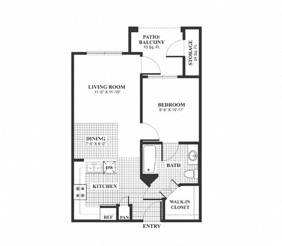 Floor Plan  One bedroom one bathroom A1 Floorplan at Muirlands at Windemere in San Ramon, CA