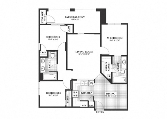 Floor Plan  Three bedroom two bathroom C1 Floorplan at Muirlands at Windemere in San Ramon, CA