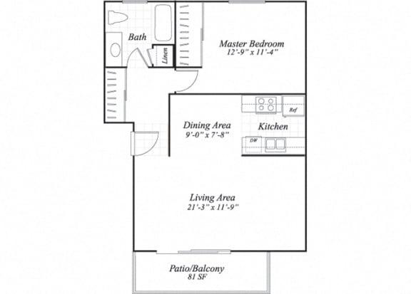 Floor Plan  One bedroom one bathroom A1 floorplan at Wyndover Apartment Homes in Novato, CA
