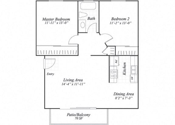 Floor Plan  Two bedroom one bathroom B1 floorplan at Wyndover Apartment Homes in Novato, CA