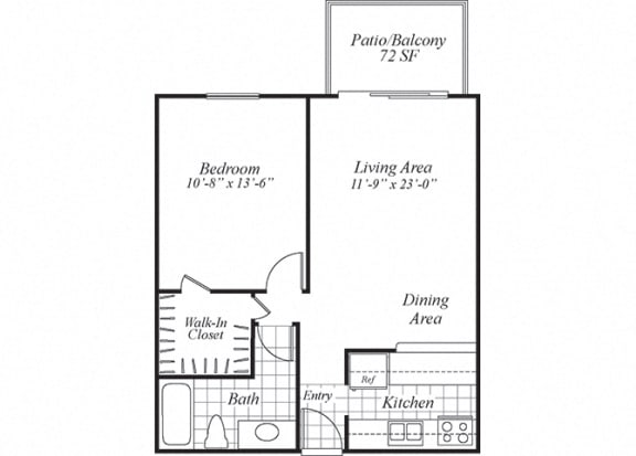 Floor Plan  One bedroom one bathroom A1 floorplan at Turnleaf Apartments in San Jose, CA