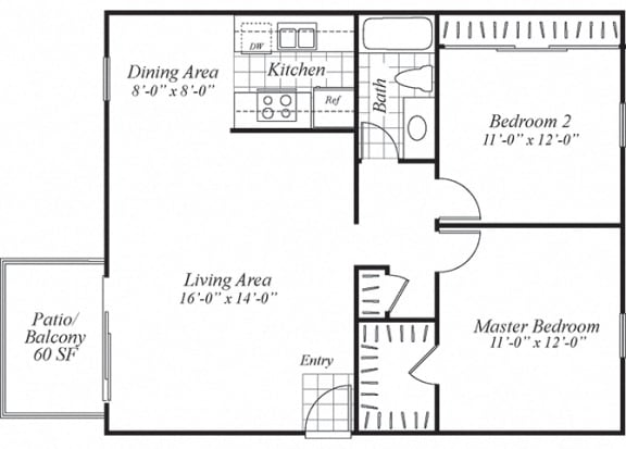 Floor Plan  Two bedroom one bathroom B1.1 floorplan at Turnleaf Apartments in San Jose, CA