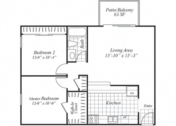 Floor Plan  Two bedroom one bathroom B1 floorplan at Turnleaf Apartments in San Jose, CA